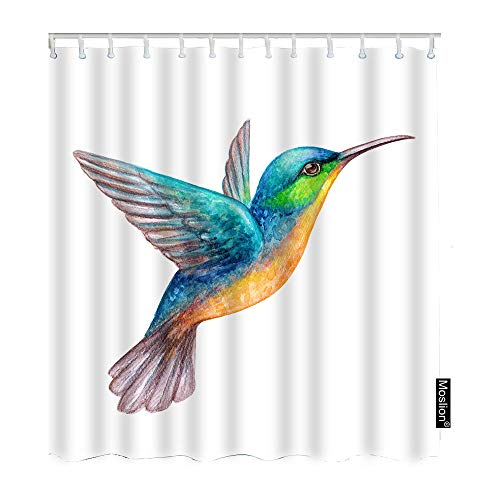 Moslion Bird Bath Shower Curtain Set Watercolor Tropical Exotic Flying Humming Birds Shower Curtains Home Decorative Waterproof Polyester Fabric with Hooks 72x90 Inch