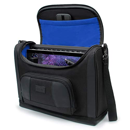 USA GEAR Small Messenger Bag Compatible with Surface Pro 7 - Shoulder Bag for Surface Pro 6, Surface Pro X - Travel Tablet Bag Also Fits Surface Pro Accessories, Charger, Keyboard, Mouse, More (Blue)