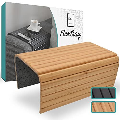 D&D Living Bandeja para sofá Flextray | Bandeja Flexible para sofá para reposabrazos de Madera Natural (50 x 35 cm, Color Natural) ✅