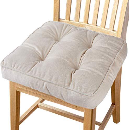 Preisvergleich Produktbild Big Ant Sitzkissen Stuhlkissen Weiche 100% Baumwolle Stuhl Kissen Auto Sitzkissen Sitzauflage Passt für Alle Sitze Stühlen zu Hause im Büro / Auto / Garten(Beige 1 Stück)