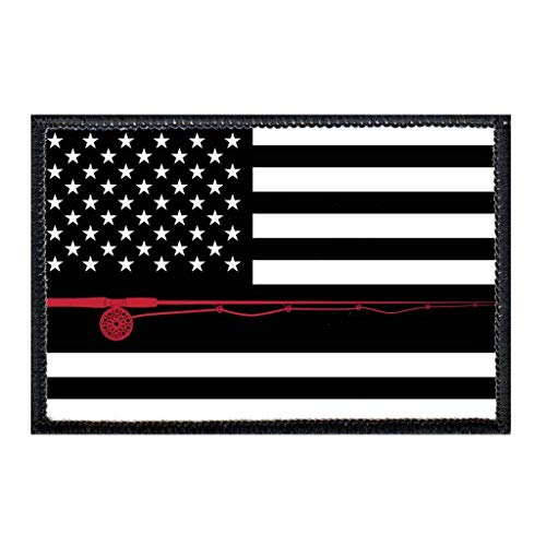 US Flag - Fly Fishing - Black and White Morale Patch | Hook and Loop Attach for Hats, Jeans, Vest, Coat | 2x3 in | by Pull Patch