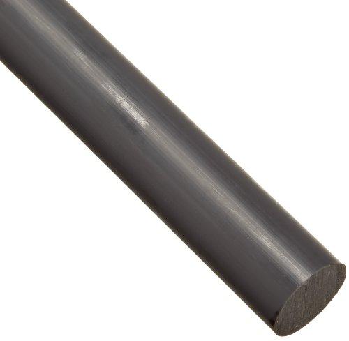 "PVC (Polyvinyl Chloride) Round Rod, Opaque Gray, Standard Tolerance, UL 94, 3/8"" Diameter, 12"" Length"