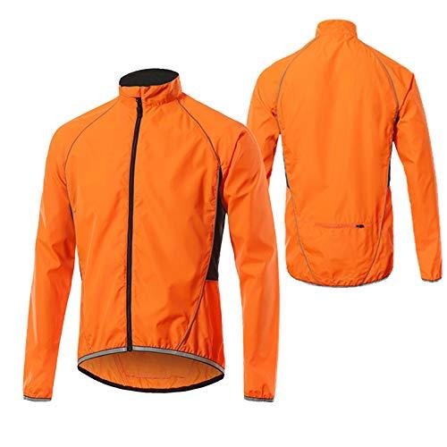 Fahrradjacke Herren Sommer,Wasserabweisend Atmungsaktiv Fahrrad Jacken Herren,Ultraleichte Mountainbike Jacket,Reflektierend Radjacke Herren,Für Radfahren,Joggen & Wandern Lau(Size:XXXL,Color:Oran
