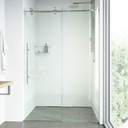 VIGO VG6021STCL6476 3.0' -64.0' W -76.0' H Frameless Sliding Rectangle Shower Door with Clear 0.38' Tempered Glass and Stainless Steel Hardware in Stainless Steel Finish with Reversible Handle