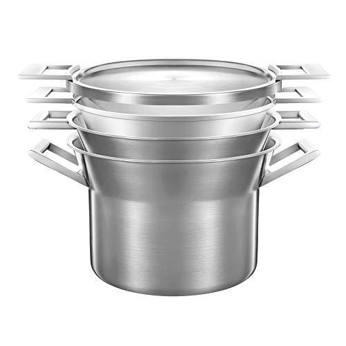 Castey Batterie de Cuisine 4 pièces en INOX Triple épaisseur avec marmite 8,75 l Casserole 6 l Panier Vapeur insérable et Couvercle 28 cm
