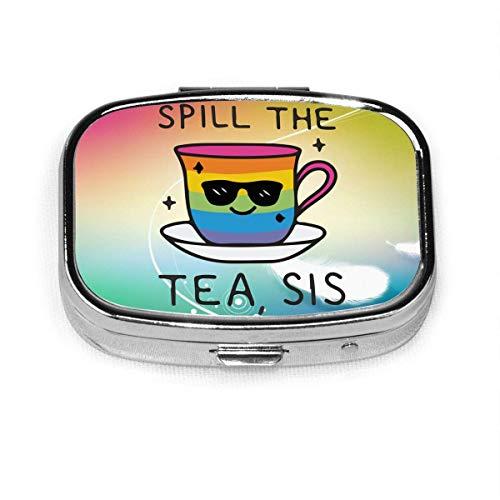Spill The Tea, Sis Fashion Square Pill Box Vitamin Medicine Tablet Holder Wallet Organizer Case