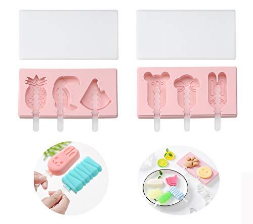 VUCDXOP 2er-Pack Silikon Eis am Stiel-Formen Silikon Eiscreme Eisformen Handgemachte DIY-Eisform Eis-Maker Eiswürfel Popsicle Formen backformen mit Deckel + 10 Kunststoffstab, mit Deckel