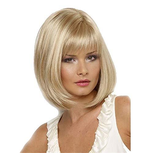 Korte rechte Bobo Pruiken for Vrouwen Synthetic Fiber Hair Golden Blond Volledige Hoofd met Bangs Cosplay party componenten (Champagne)
