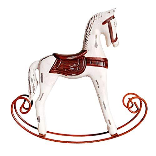 joyMerit Statua da Tavolino del Gabinetto del Vino Dell'ornamento dei Giocattoli dei Bambini del Cavallo A Dondolo di Legno - Bianco Caldo