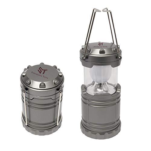 PROMO SHOP Lampara LED Camping Plegable con 2 Colgadores - Color Plateado Mate · Funciona con Pilas · Potente y Brillante Farol LED Ideal para Aventuras, Acampadas, Pesca, Senderismo, etc