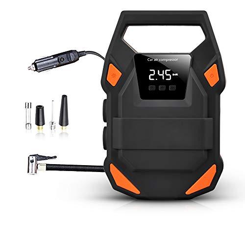 QWERTOUY Fineed 150psi auto-luchtcompressor 12 V bandencompressor voor het oppompen met bandenspanningsmeter voor auto's en fietsen met SOS