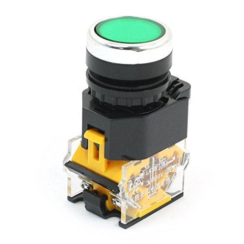 380V 10A NO NC momentáneo eléctrico verde redondo interruptor de botón pulsador