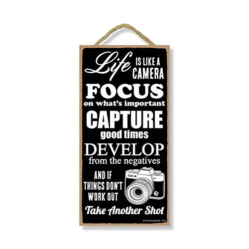 Honey Dew Gifts Life is Like a Camera 5 inch by 10 inch Hanging Decor, Inspirational Wall Art, Decorative Wood Sign Home Decor