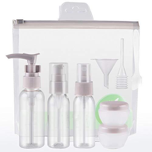 Kit de Bouteille de Voyage Vide Plastique 9 Pcs Le Shampooing Liquide Laque Lotion Crème (Gris)
