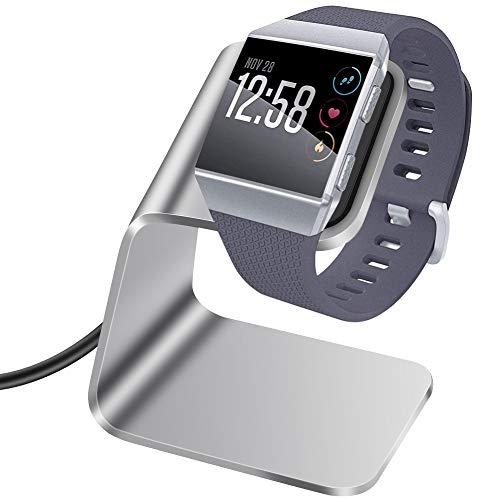 KIMILAR Ladegerät Kompatibel mit Fitbit Ionic Ladestation, Premium Aluminium Ladestation mit 3 Fuß Ladekabel Zubehör Ladestation Halter Kompatibel mit Fitbit Ionic Health und Fitness (Silber)