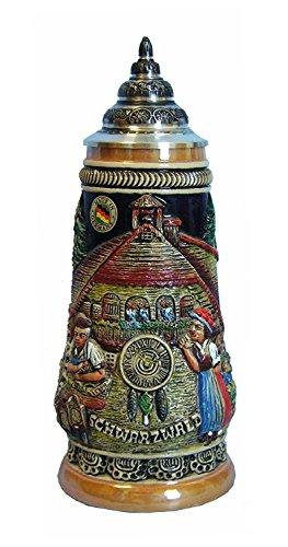 KING Boccale da Birra Tedesco Orologi della Foresta Nera con Un Manico a Figura di Un Uomo Che Porta Orologi 0,5 Litri Ki 305-U 0,5L