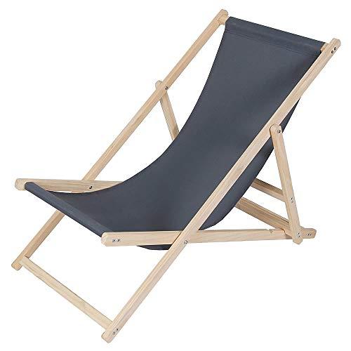 Melko Strandstuhl aus Holz Holzliegestuhl klappbar Campingstuhl Faltliege Sonnenliege Anthrazit