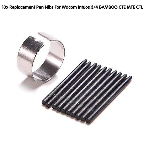 BAQI 10 Piezas de Repuesto Stylus Pen Tips para Wacom Intuos 3/4 Bamboo CTE MTE CTL CTH con Anillo de borrado