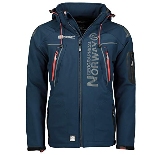 Geographical Norway Techno Softshelljacke Herren, Abnehmbare Kapuze Gr. X-Large, marineblau
