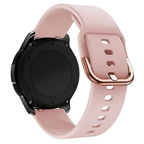18 mm 20 mm 22 mm Correa de Reloj de Silicona para Samsung Galaxy Watch 42 46 mm Galaxy Watch Active 2 Reemplazar la Correa de la Pulsera para Amazfit BIP 18 mm Rosa
