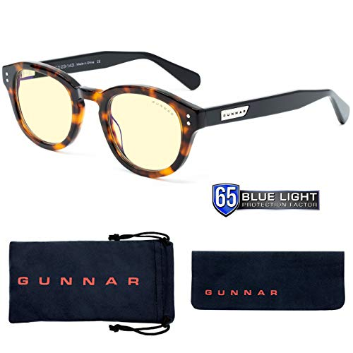 Computer Glasses | Blue Light Blocking Glasses | Emery Tortoise/Onyx by GUNNAR | Patented 65% Blue Light Protection, 100% UV Light, Anti-Reflective, Protect & Reduce Eye Strain & Dryness