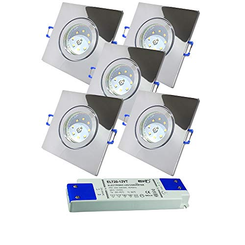 LED Bad Einbauleuchten 12V inkl. 5 x 3W SMD LM Farbe Chrom IP44 LED Deckenspots Neptun Eckig 3000K mit Trafo