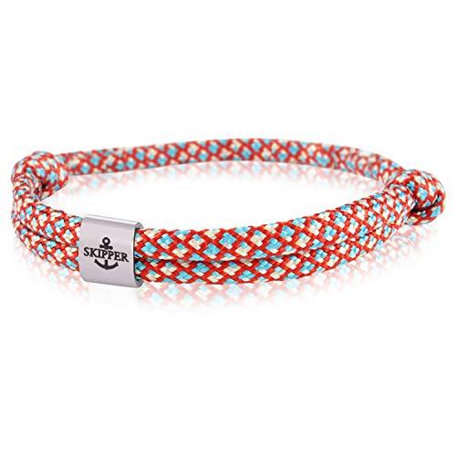 Skipper Surfer Armband mit Edelstahl Charm für Damen und Herren - Rot Blau Weiß 7858