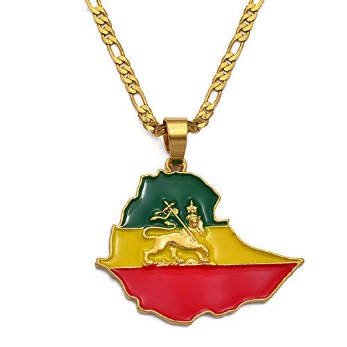 Nobrand Karte von Äthiopien Anhänger Kette Halsketten für Frauen Männer, Gold Farbe Flagge Äthiopien Karten Schmuck Zubehör