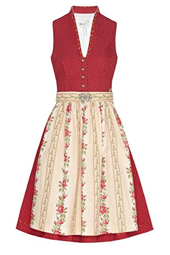 MarJo Moser Trachten Baumwolle Mini Dirndl 60er rot gepunktet Creme geblümt Baurina 006989, Rocklänge: ca. 60cm, mit Knopfleiste, Größe 34