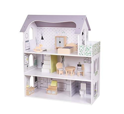 Coemo Puppenhaus Anna Puppenstube komplett möbliert Puppen 3 Etagen mit Einrichtung