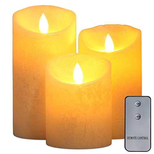 """Upgraded Flameless Candles with Remote, led Candles Set of 3 (4'5'6'Pillar,Each 3""""Diameter) Real Wax Not Plastic Pillars for Home Christmas Decorations Indoor Wedding Birthday Party"""