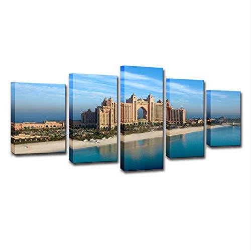 Swlyddm Stampa su Tela 5 Pezzi di Dipinti - City Hotel View - Quadri murali su Tela Murales Moderni Soggiorno Decorazione Camera da Letto Pronto da Appendere - GW-24186SA