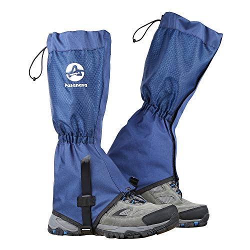Pasanava Leg Gaiters Waterproof and Adjustable Walking Snow Gaiters with TPU Foot Strap for Hiking,Hunting,Backpacking and Outdoor Activity for Men and Women (blue)
