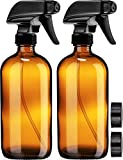 Empty Amber Glass Spray Bottles with Labels (2 Pack) - 16oz Refillable Container for Essential Oils,...
