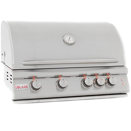 """Blaze LTE 32-Inch 4-Burner Built-In Natural Or Propane Gas Grill With Rear Infrared Burner & Grill Lights - BLZ-4LTE-NG Or BLZ-4LTE-LP - With Free Grill Cover! (32"""" Propane)"""