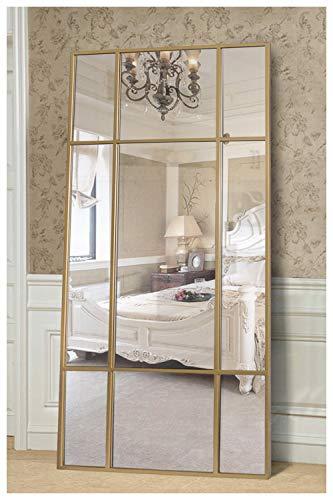 Standspiegel Ganzkörperspiegel, Gold, aus Metall – Rechteckiger Ankleidespiegel | [H 220* B 110* T 3cm] | Designed in Dänemark | Garderobenspiegel groß, lang, stehend | vertikal/horizontal