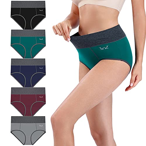 MIBEI 5 Pack Ladies Underwear High Waist Briefs Cotton Knickers Pants for Women Multipack