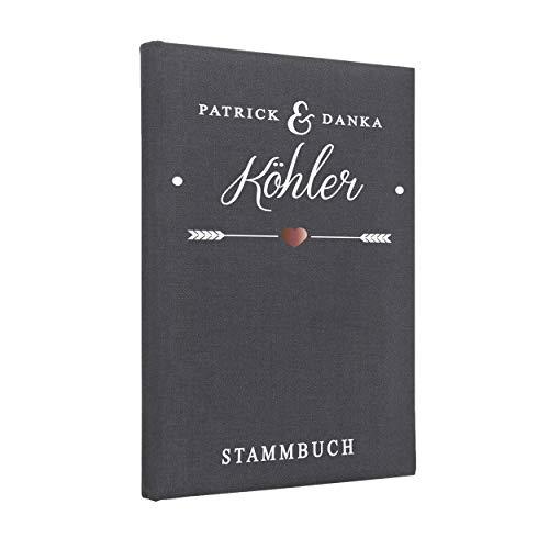 Hochzeitideal Stammbuch der Familie, Familienstammbuch, Buchbinderleinen grau, Nr. 133 inkl. Personalisierung