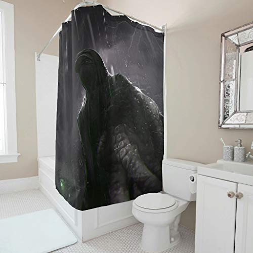 Harberry Mythical Octopus Shower Curtain Fresh Easy Care Curtains Set with Rings - for Bath Room Decoration white 180x180cm