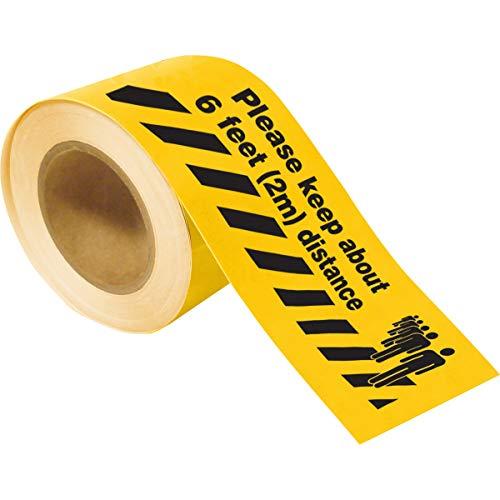 Mantener La Cinta Toughstripe con 2 M de Distancia, 101.60mm x 30.48m, Amarillo Negro