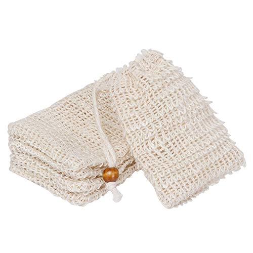 Goldoars Bolsa Jabon, bolsita de jabón bolsita de jabón de sisal para espumar y secar jabones, exfoliación, masaje, bolsas de jabón con cuerda (5 piezas)