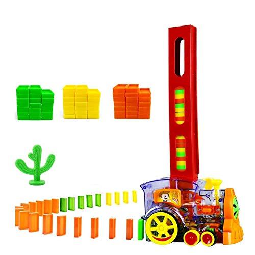 LucaSng Domino Zug Spielzeug Set mit 80 PCS Domino Blöcken Automatischer Domino Legezug mit Licht und Ton Kinder Elektrostapel Spielzeug Geschenk für Mädchen Jungen