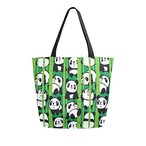 Patrón sin costuras con imagen de Demasiado Pandas en Bosque de Bambú Bolsa de lona para mujeres, viajes, trabajo, compras, supermercados, bolsos grandes, reutilizables, bolsas de hombro de algodón