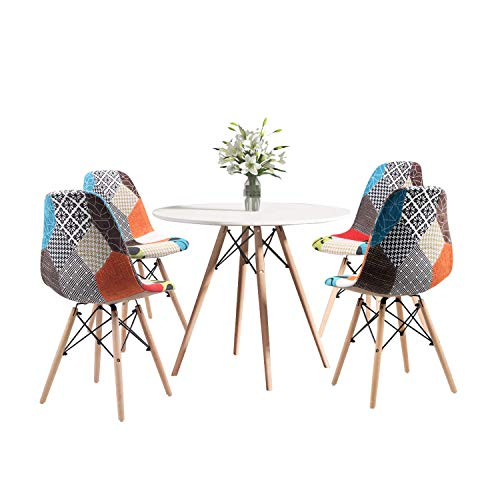 Round Dining Table and Chair Set of 4, Coffee Table with Wood Leg for Dining Room Living Room Kitchen (Wood Table+4*Patchwork Blue Chairs)