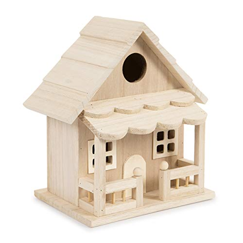 "Darice 30024507 Wood Birdhouse with Front Porch, 18.5"" Wood Bird House"