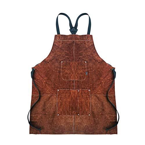 precauti Delantal de piel para barbacoa, delantal de cocina/camarero, 2 capas, resistente al aceite, antidesgaste, protección contra chispas