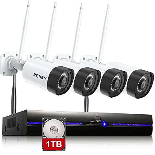3MP Kit Camara de Vigilancia WiFi Exterior con Audio Bidireccional, REIGY 1296P Sistema de Seguridad IP Inalámbrico Interior, 4X3MP Camara IP y 8CH NVR, Visión Nocturna Detección Movimiento 1TB HDD