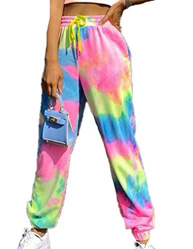 N Pantalones Sueltos Deportivos para Mujer Tie-Dye Impreso Home Loungewear Capri Jogger Running Pantalones Lounge Elasticted Waistband Pants