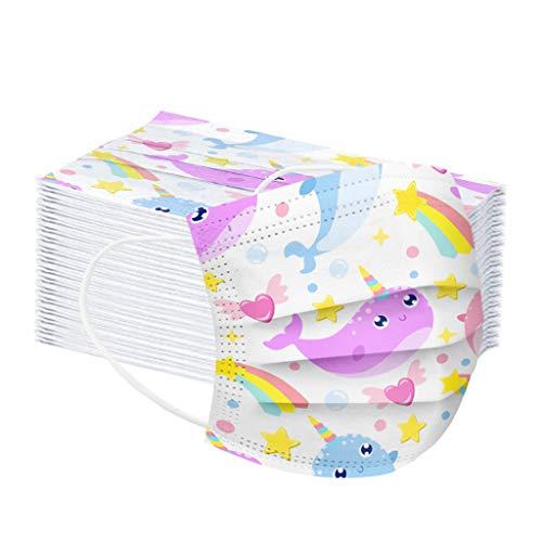 Fossen 50 Stück Kinder Mundschutz Einschulung Cartoon Einweg 3-lagig Atmungsaktiv Face Cover,lustiger mundschutz Face Halstuch für Jungen und Mädchen Soolike (Wal)