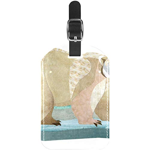 Etiquetas de equipaje de cuero con diseño de oso polar de pie sobre hielo para maleta de viaje, 1...